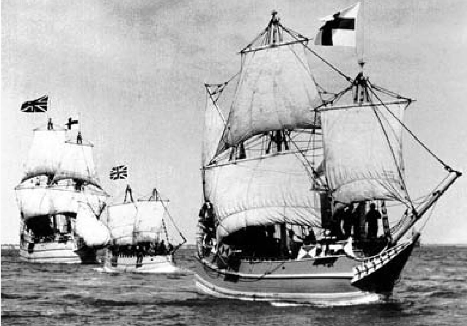 Jamestown Festival Park's replica fleet, circa 1957