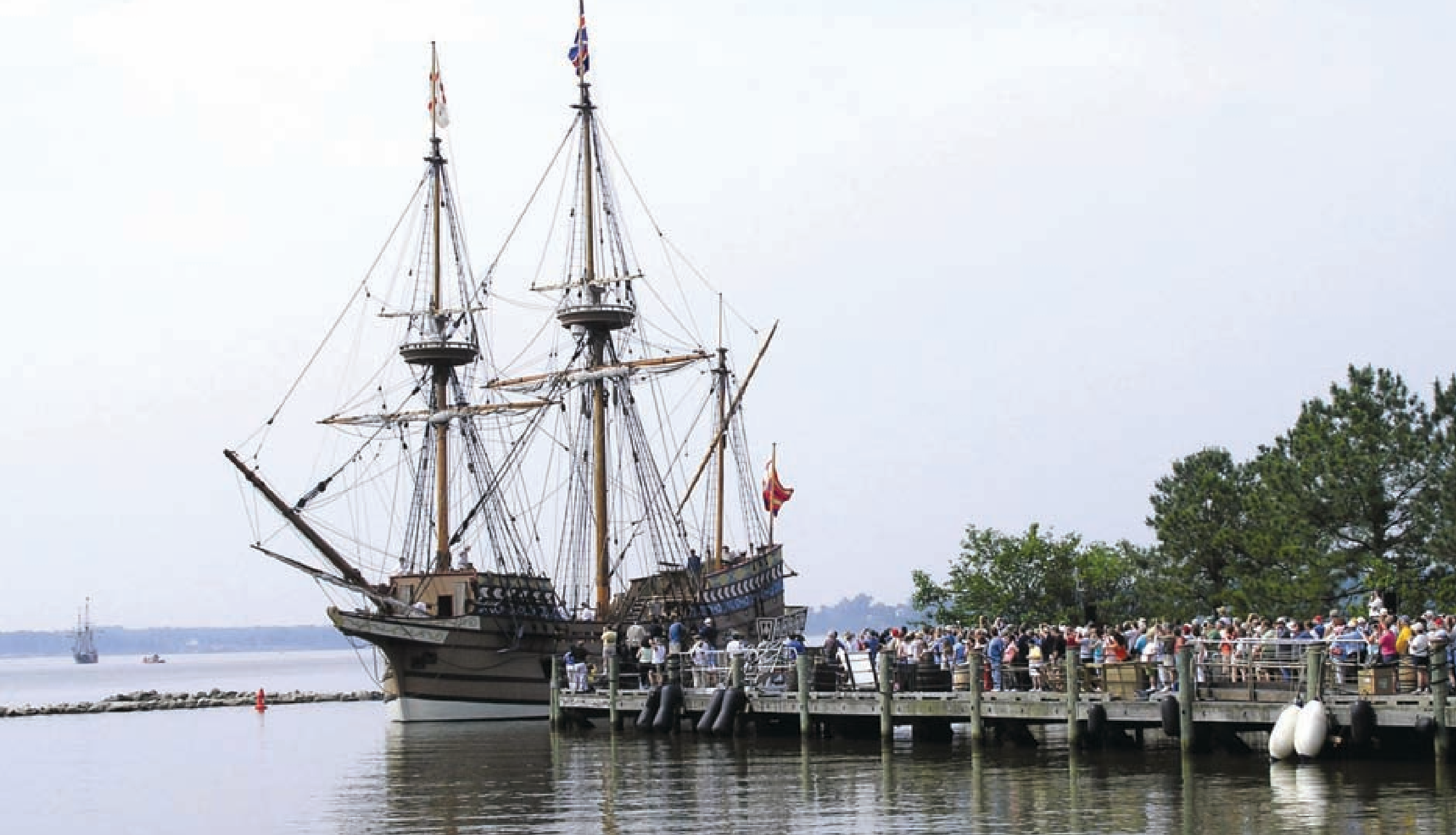 The replica Susan Constant docked at Jamestown Settlement pier on May 12, 2007, as part of the America's Anniversary Weekend celebrations.
