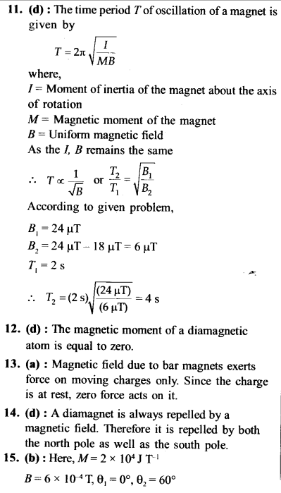 NEET AIPMT Physics Chapter Wise Solutions - Magnetism and Matter explanation 11,12,13,14,15