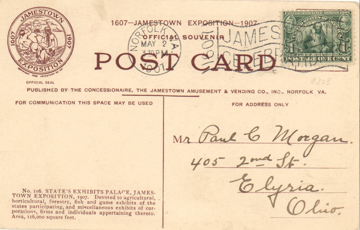 Postcard mailed from Norfolk, Virginia, one week following the opening of the 1907 Jamestown Exposition with