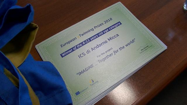 Premiazione Premio europeo eTwinning 2018 Adorno Micca