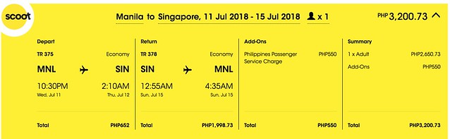 Scoot Manila to Singapore July 11 to 15, 2018