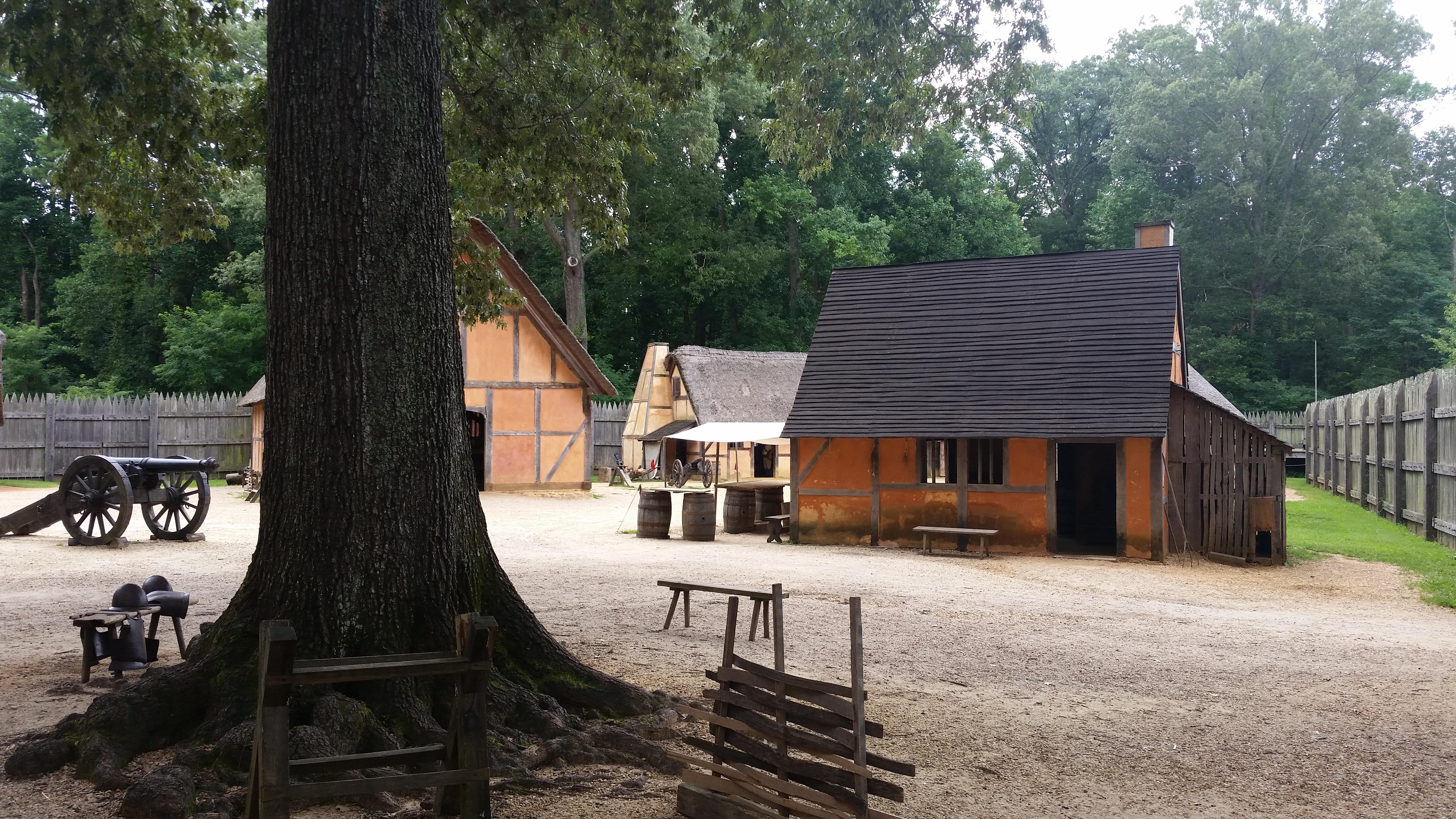 Fort interior at Jamestown Settlement, Virginia. Photo taken on August 4, 2016.