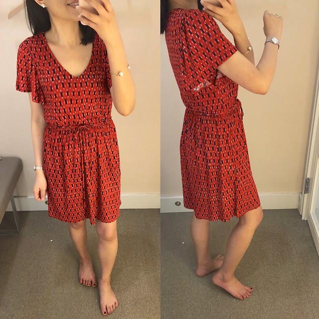 LOFT Ikat Tie Waist Flare Dress, size XXSP