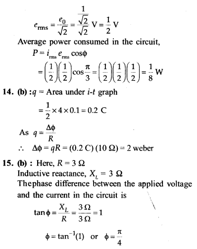 NEET AIPMT Physics Chapter Wise Solutions - Electromagnetic Induction and Alternating Current explanation 13.1,14,15