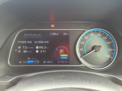 イオンモール宮崎到着時 日産リーフ(40kWh)メーター 冷房ON