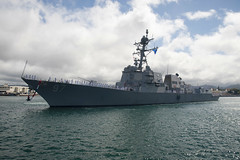 USS Halsey (DDG 97) approaches the pier at Joint Base Pearl Harbor-Hickam, May 14. (U.S. Navy/ATAN Joshua Markwith)