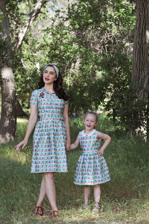 Palava Louise Dress in Lobster Rows Penny Dress in Lobster Rows