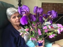 Mom with iris azalea bouquet