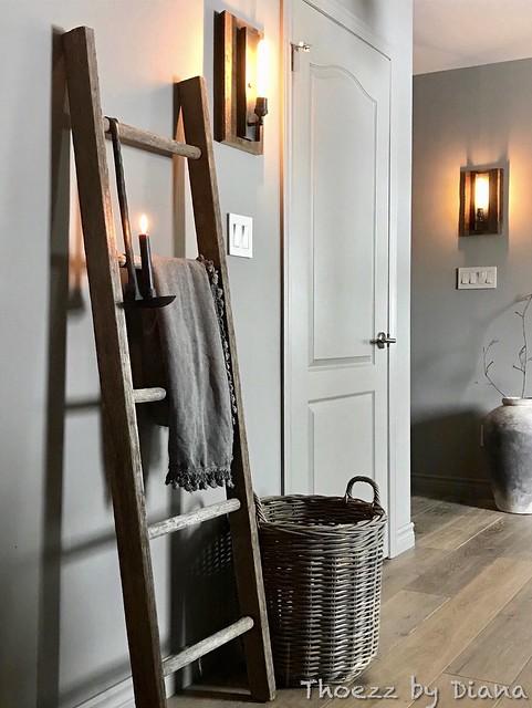 Hangkandelaar, decoratieladder, rieten mand