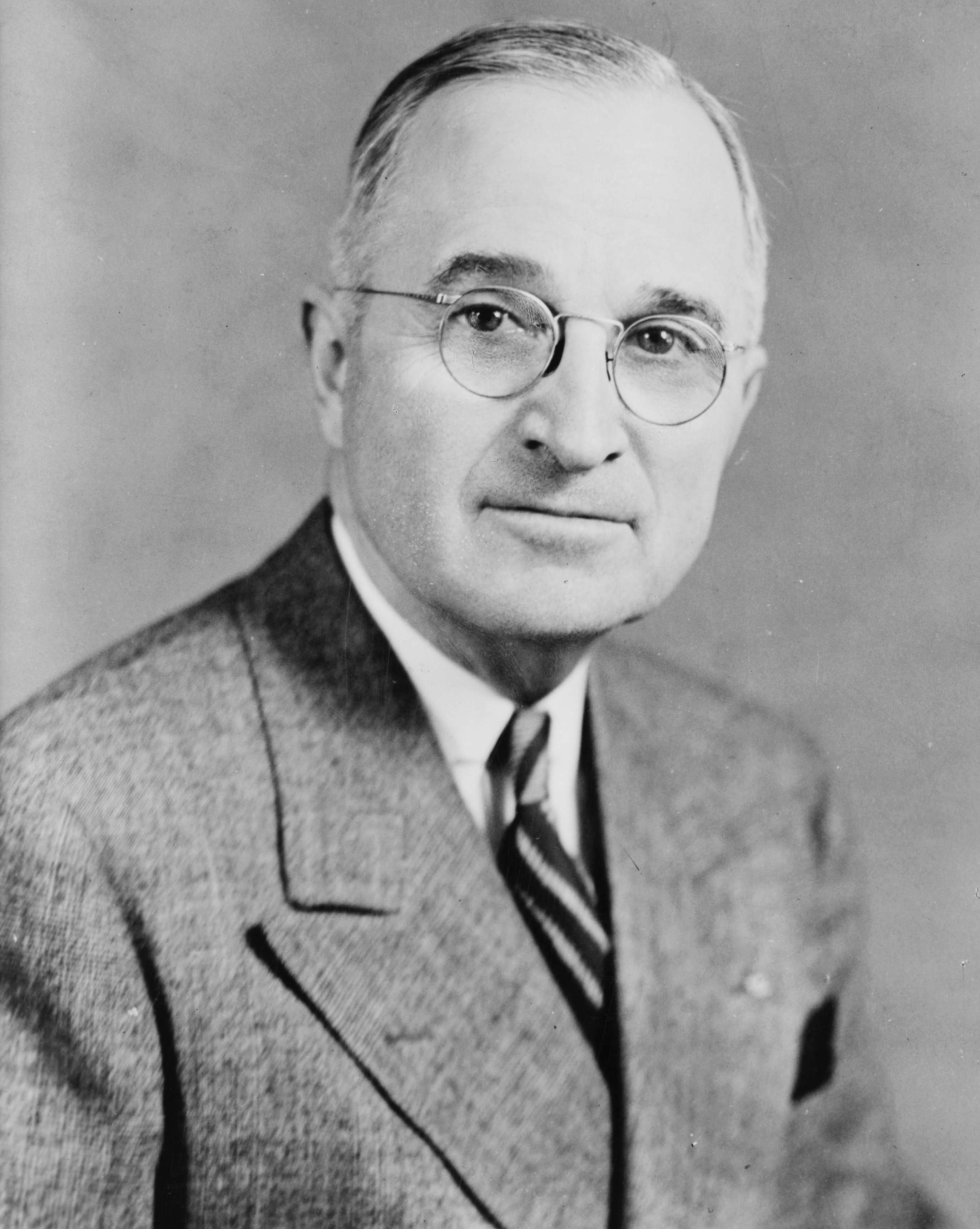 U.S. President Harry S. Truman. Photo copyrighted July 27, 1945. From the United States Library of Congress's Prints and Photographs division under the digital ID cph.3c17122.