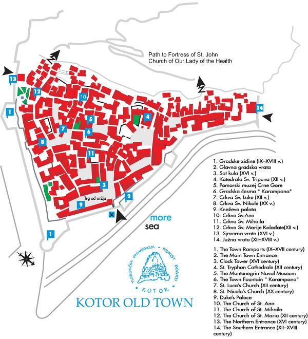 Туристическая карта Старого Котора с достопримечательностями