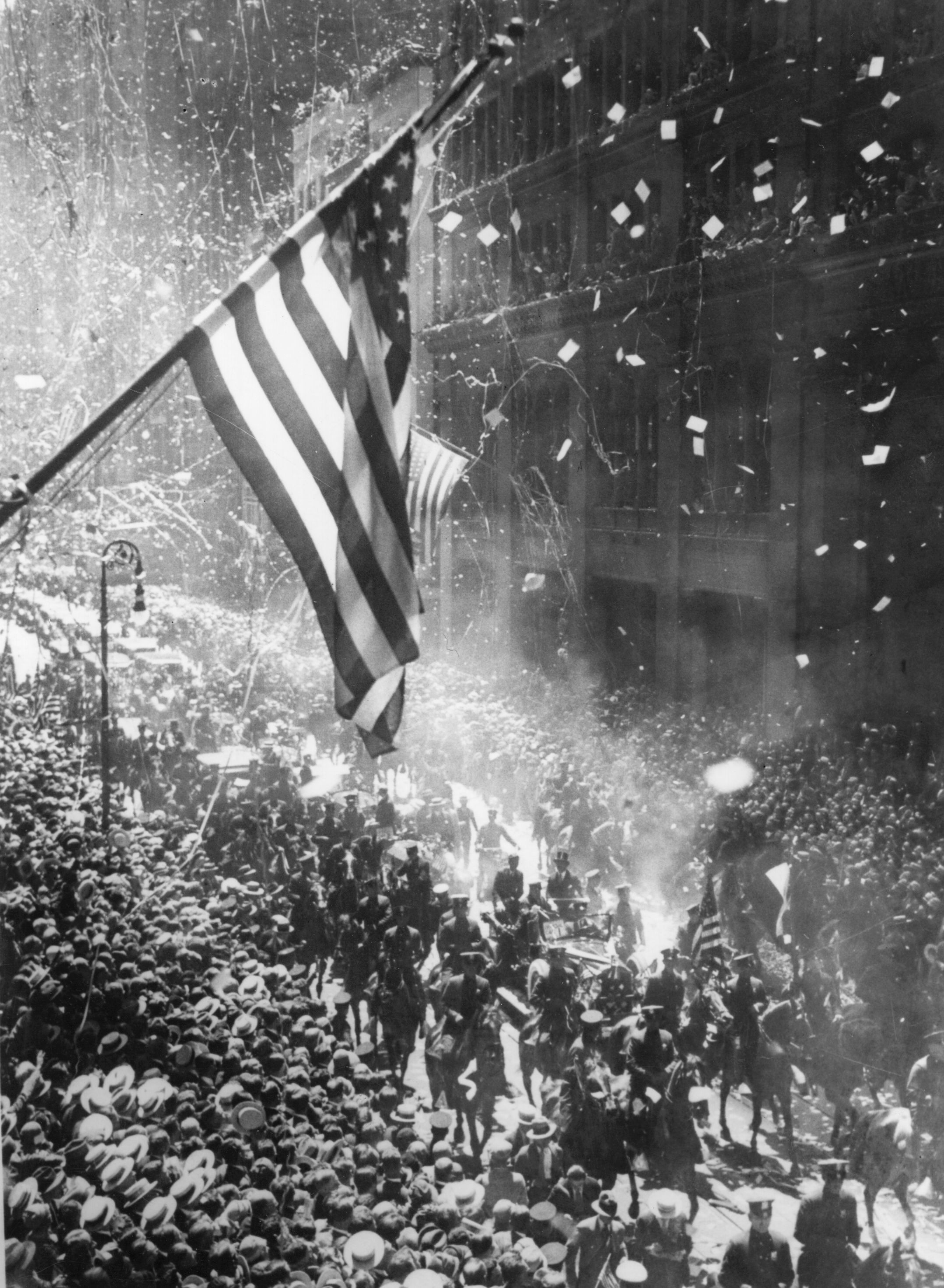 The tickertape parade in New York on June 13, 1927, following Charles Lindbergh's arrival after his solo flight across the Atlantic. (Photo by Central Press/Getty Images)