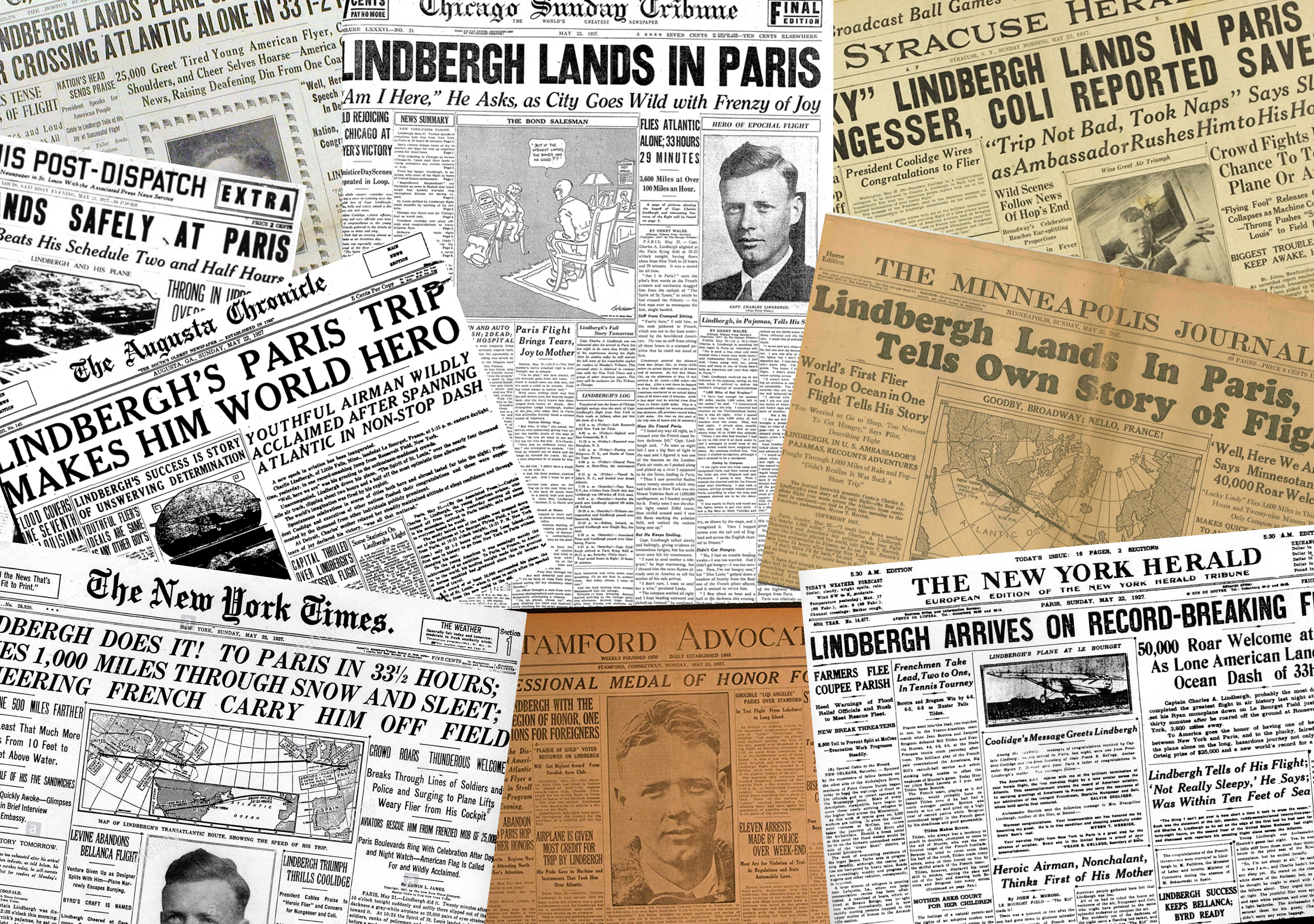 Newspapers reporting on Charles Lindbergh's successful transatlantic flight which concluded in Paris, France, on May 21, 1927.