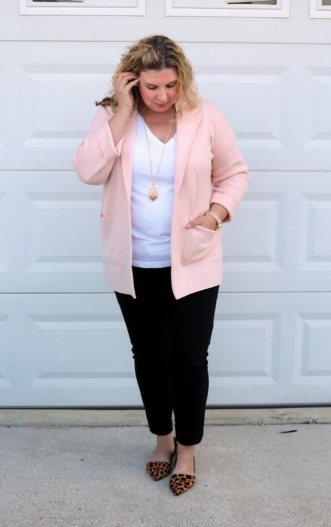 blush sweater cardigan, white tee, black pencil pants, leopard flats 3