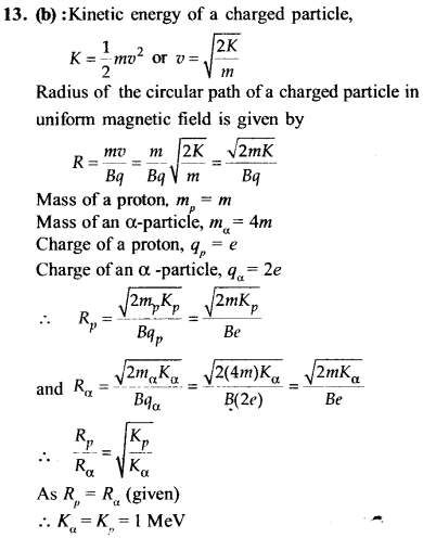 NEET AIPMT Physics Chapter Wise Solutions - Moving Charges and Magnetism explanation 13