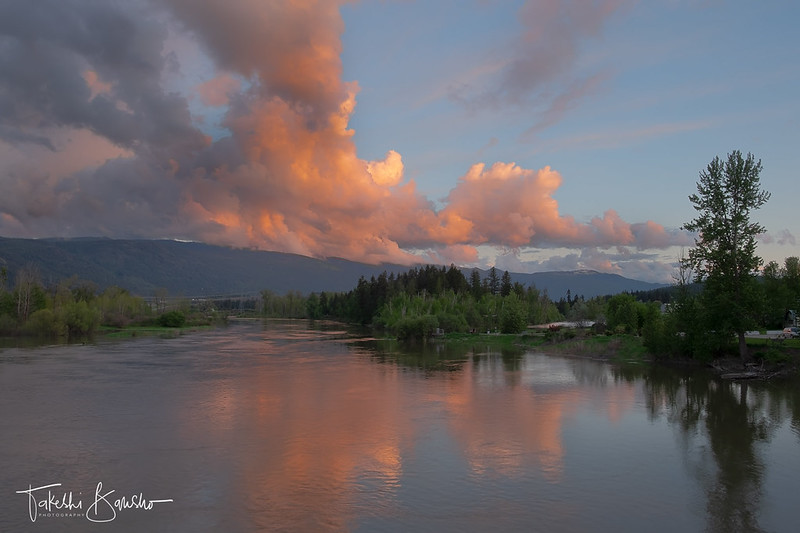Sunset over spring runoff