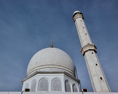 Looking up in awe at the Hazratbal