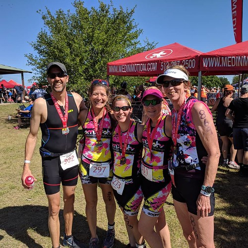 """Triathlon is stupid"" was the theme for this race, but it was so much fun getting to hang out and laugh with so many friends. Congratulations to those who raced, and thank you to those who volunteered and cheered!"