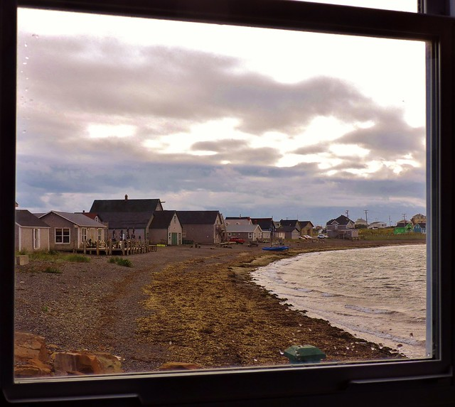 View of shoreline out a window