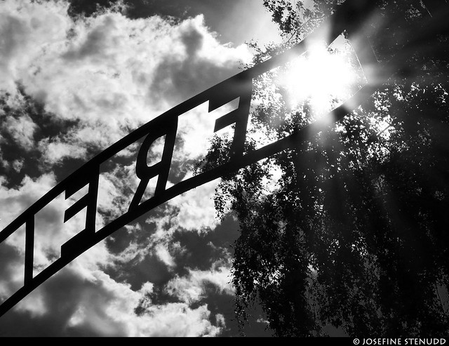20170630_38 Part of the ''Arbeit macht frei'' sign (more solar flare) | Auschwitz concentration camp, Poland