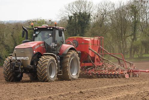 Case IH Magnum 340 CVX Tractor with a Vaderstad Spirit 600C Seed Drill
