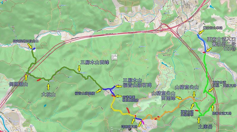 017、標示軌跡路線::土庫岳-山豬窟尖山-三腳木山-大坑山-倒照湖山