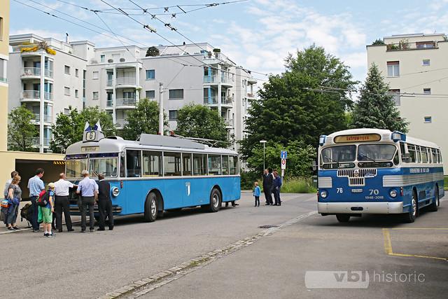 Trolleybus Nr. 25 und Twin Coach Nr. 76 Weinbergli