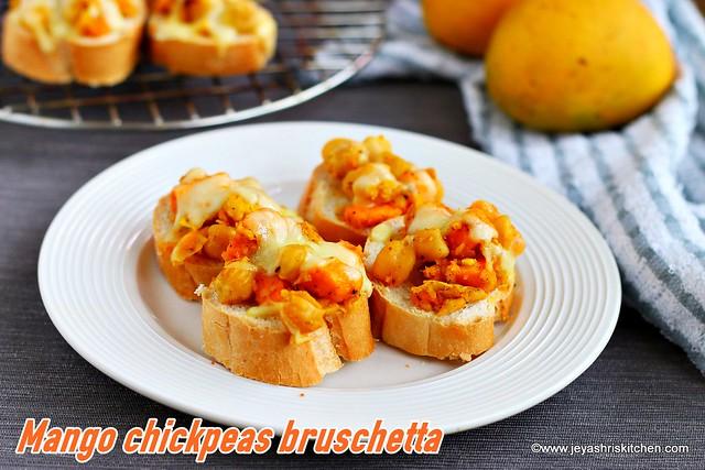 Mango chickpeas bruschetta