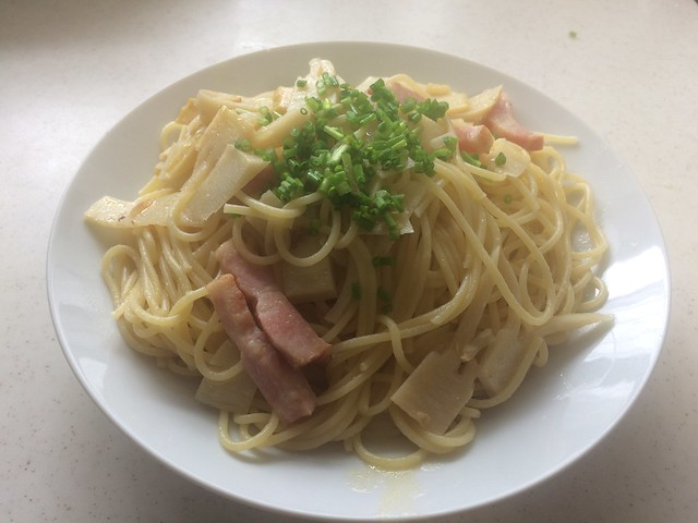 pasta with takenoko and asatsuki