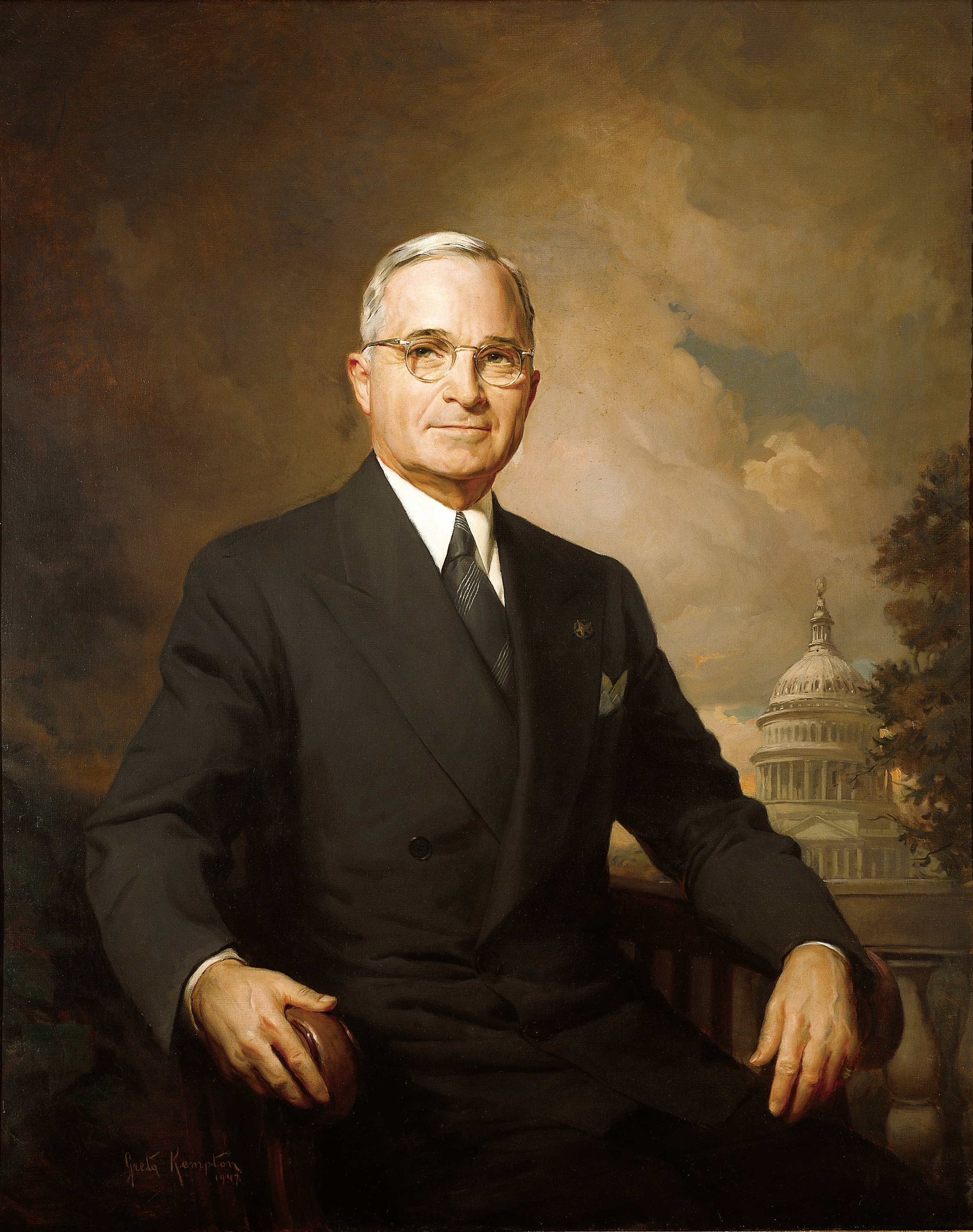 Official Presidential Portrait of Harry S. Truman painted by Greta Kempton. Notice the Capitol Building in the background. Truman, who was a two-term senator from Missouri and as vice-president presided over the Senate, wanted to emphasize his legislative career rather than his executive and the constitutional emphasis of the former over the latter.