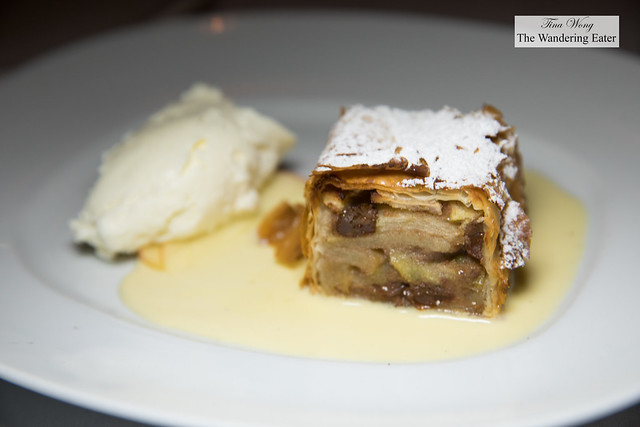 Apple strudel, creme anglaise and schlag