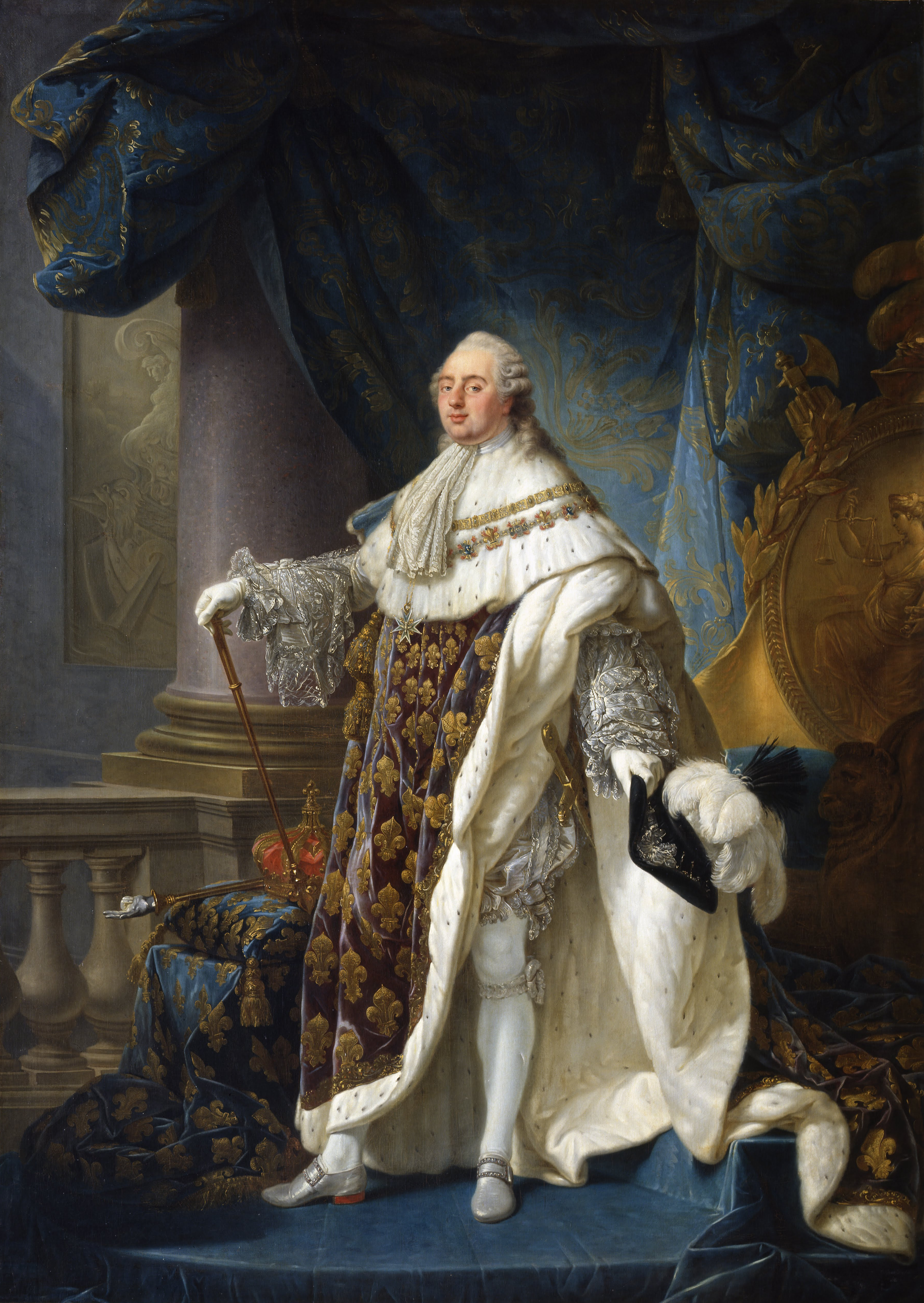 Louis XVI, King of France and Navarre (1754-1793), wearing his grand royal costume in 1779. Painting by Antoine-François Callet (1789).