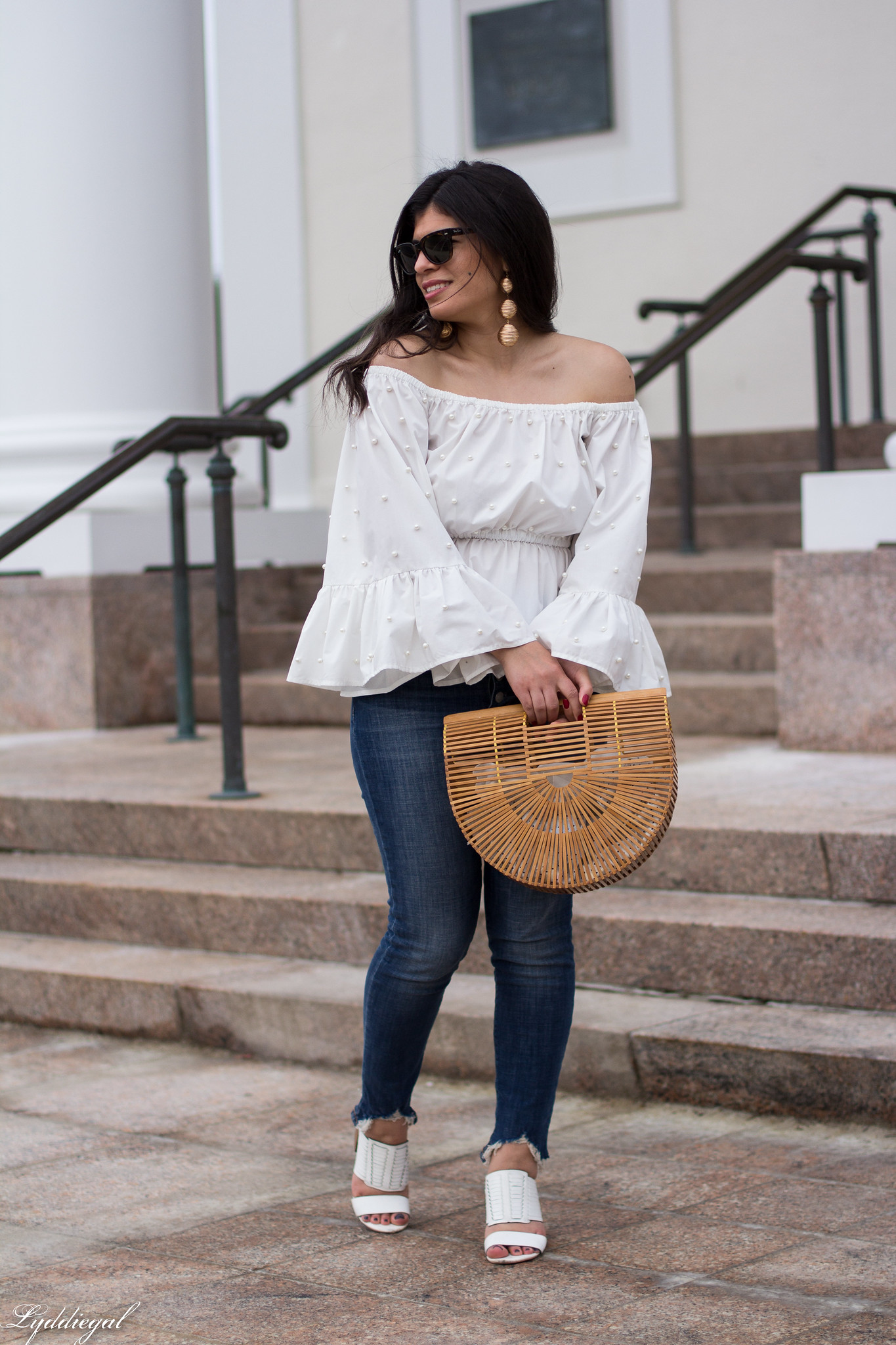 off the shoulder pearl embellished blouse, distressed denim, bamboo purse-1.jpg