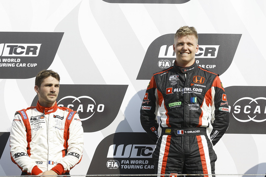 EHRLACHER Yann, (fra), Honda Civic TCR team ALL-INKL.COM Munnich Motorsport, portrait celebrating victory podium, during the 2018 FIA WTCR World Touring Car cup of Zandvoort, Netherlands from May 19 to 21 - Photo Jean Michel Le Meur / DPPI