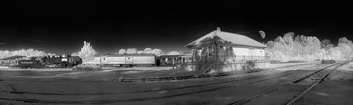 Rail yard with Moon