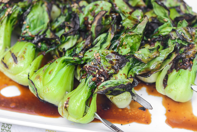 Grilled Bok Choy with Ginger-garlic Dressing