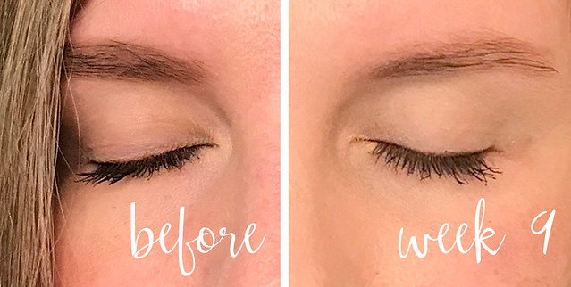 before and week 9 lashes with mascara