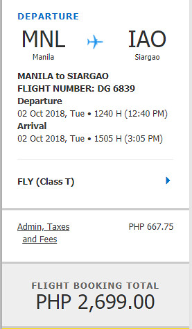 Cebu Pacific Sale Manila to Siargao October 2, 2018