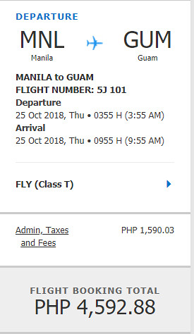 Cebu Pacific Sale Manila to Guam October 25, 2018