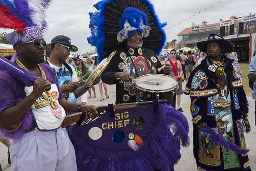 Golden Comanche Mardi Gas Indians during Jazz Fest day 5 on May 4, 2018. Photo by Ryan Hodgson-Rigsbee RHRphoto.com