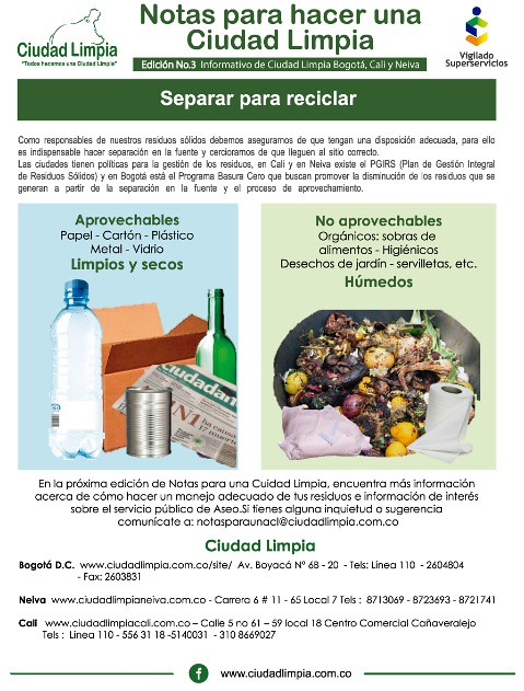 Ciudad Limpia - Como separar