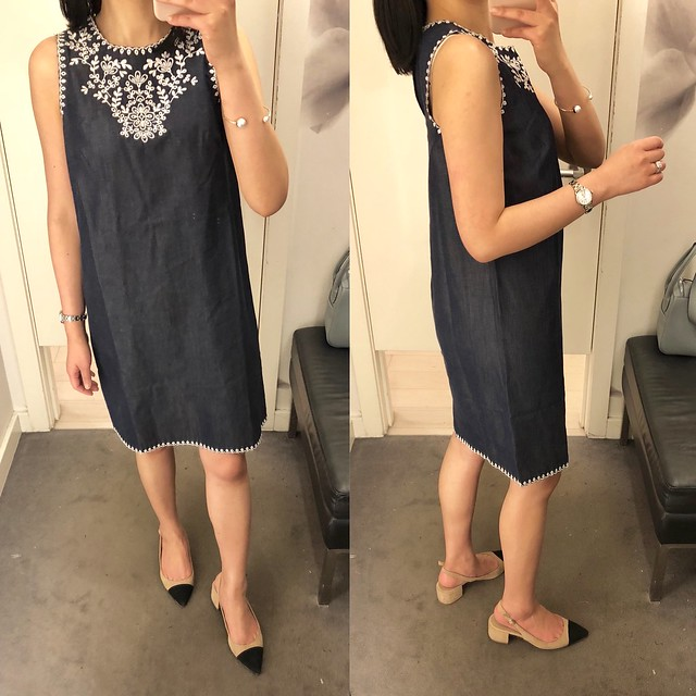 Ann Taylor Floral Embroidered Denim Shift Dress, size 00P
