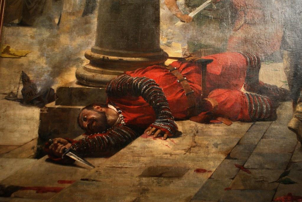 """Détails du tableau """"I vepri siciliani"""" d'Erulo Eroli au musée des beaux Arts de Palerme (GAM)."""