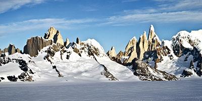 Patagonisches Inlandeis mit Fitz Roy und Cerro Torre