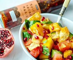 My #homemade #fruit #salad with a spicy twist, using @saucemanlondon 's spicy kecap manis (asian sweet soy sauce), courtesy of @the_tabl . Its sweet, tangy, spicy and refreshing! A great accompaniment to any barbecue or al-fresco dining in this warm sunny