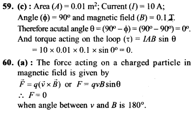 NEET AIPMT Physics Chapter Wise Solutions - Moving Charges and Magnetism explanation 59,60