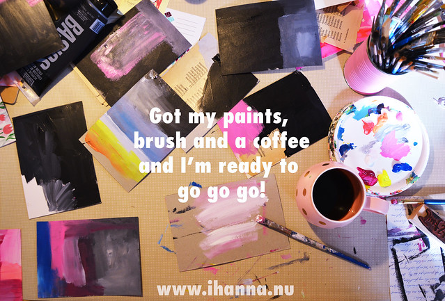 Got paint, brush and coffee, desk at Studio iHanna #diypostcardswap