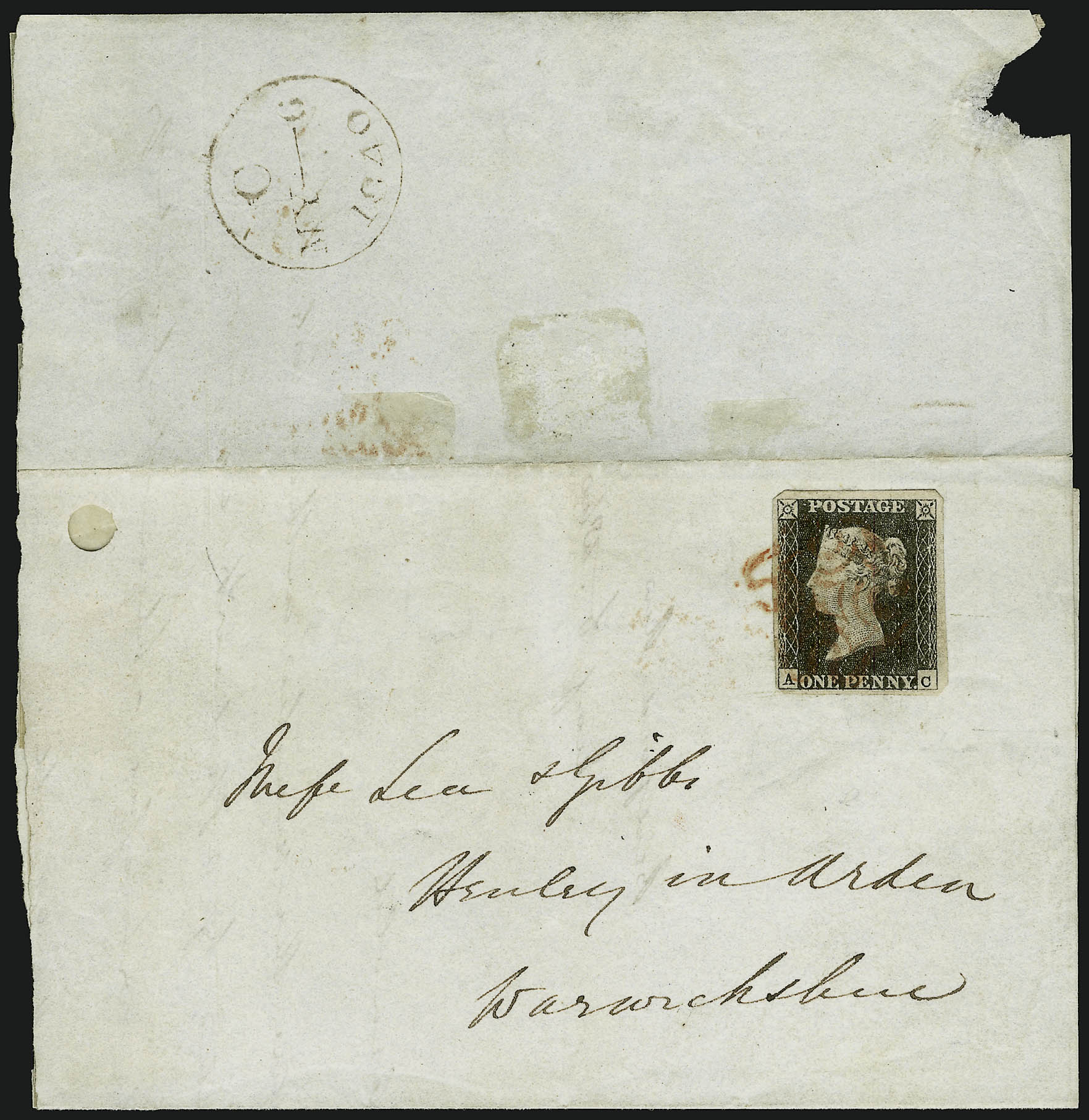 Two letter-sheets bearing Penny Blacks used on its first day of postal validity, May 6, 1840, each tied to its respective cover with a red Maltese cross cancellation. [NIMC-2018]