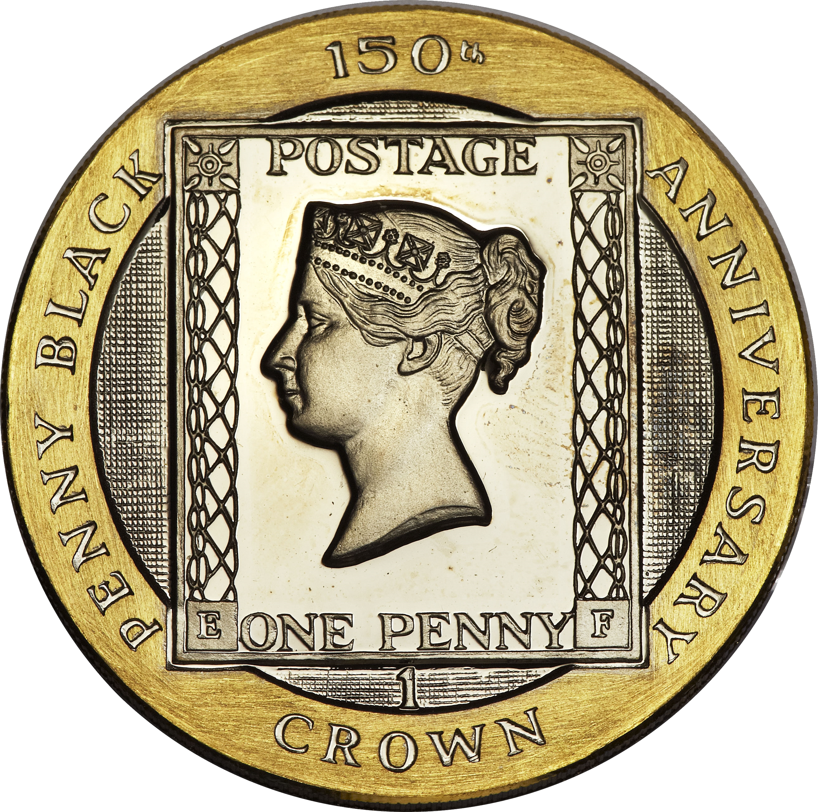 1990 Great Britain 1-crown gold proof coin commemorating the 150th anniversary of the Penny Black.